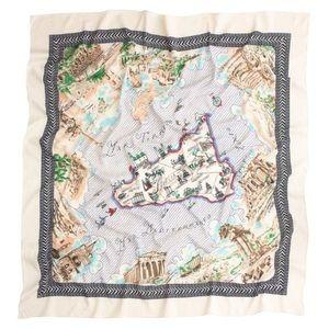 Rare J. Crew Sicilia Map Scarf